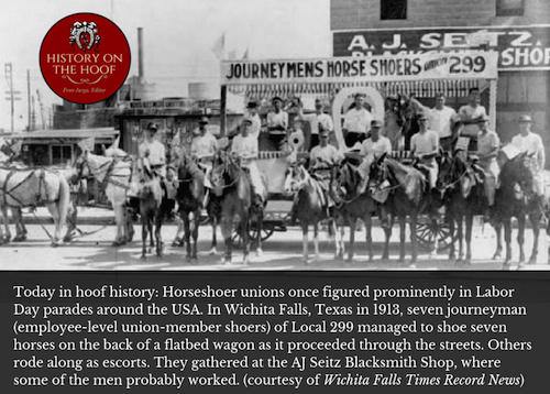 Union horseshoers shod seven horses on wagon during Labor Day parade 1903