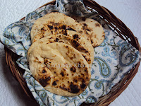 whole wheat naan baked on griddle
