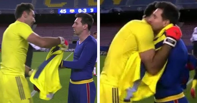 Messi and Buffon swap shirts and warmly hug each other after Juventus clash