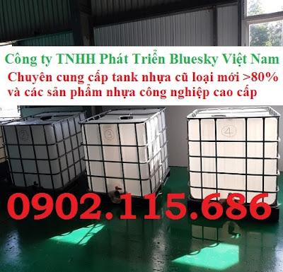N1 Tank nhựa IBC cũ, tank đựng hóa chất 1000l, tank đựng nước công trình 1000l, tank đựng xăn