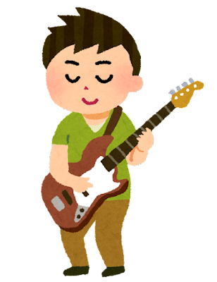 ベースを弾く人のイラスト(男性)