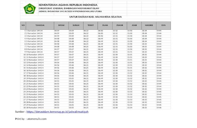 Jadwal Imsakiyah HALSEL 2020 dari KEMENAG