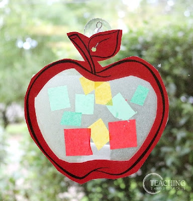 Apple Suncatcher Craft by Teaching 2 and 3 Year Olds