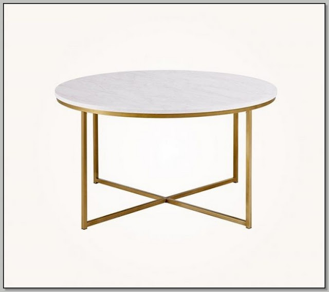 White Coffee Table With Gold Legs