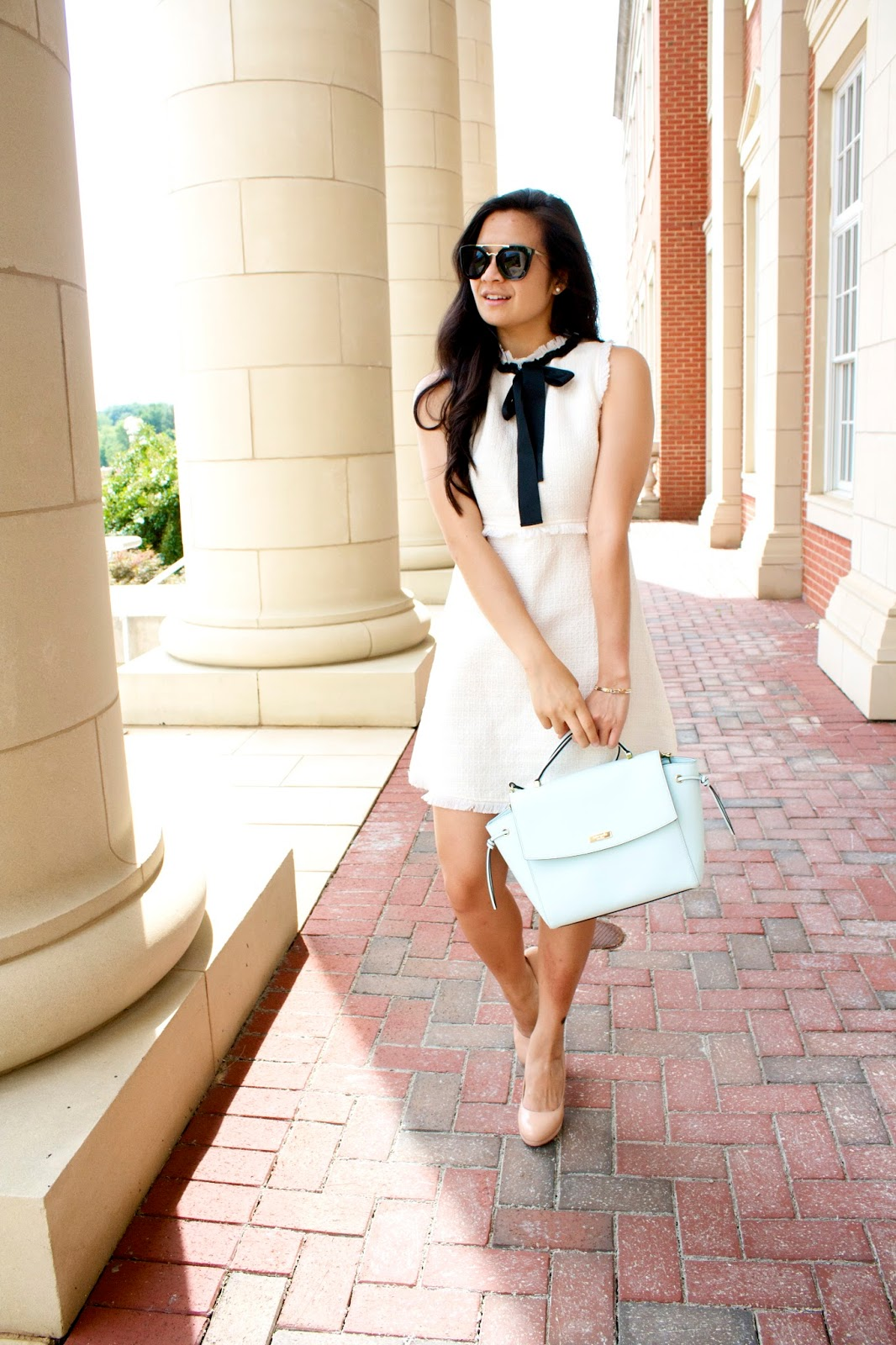 White tweed bow tie dress