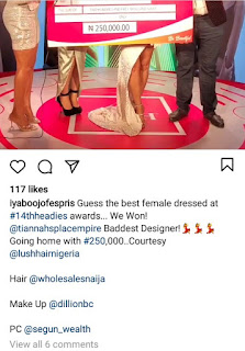 Iyabo Ojo Wins ₦250,000 As Best Dressed Female At The 14th Headies Award (Photos)