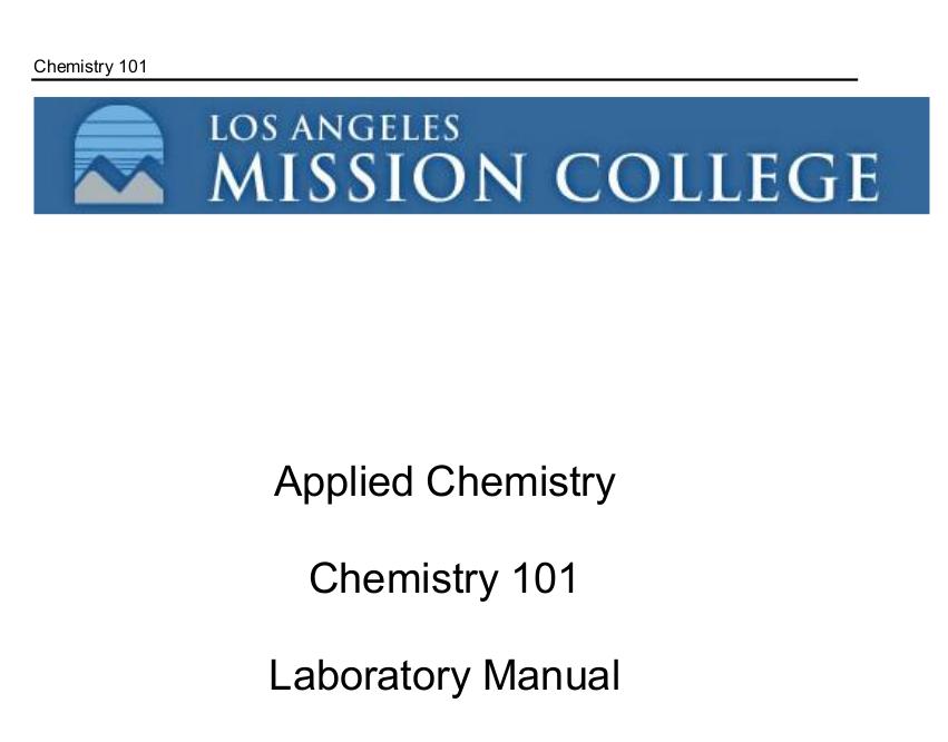 Applied High School Chemistry Lab Manual