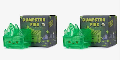 Hot Topic Exclusive Dumpster Fire Translucent Slime Green Edition Vinyl Figure by 100% Soft