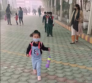Little angel stepping into the school