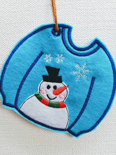 Machine embroidery Christmas ornament