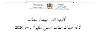 لائحة طلبات التقاعد النسبي المقبولة برسم 2020 - أكاديمية الدار البيضاء سطات