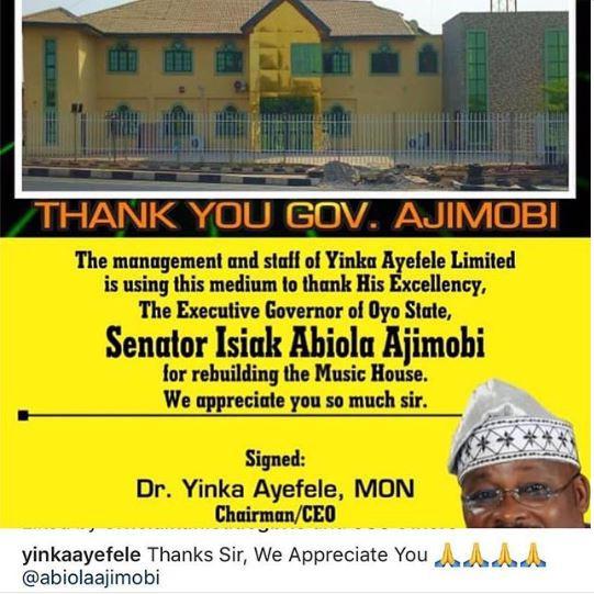 Yinka Ayefele shows gratitude to Governor Ajimobi who rebuilt his music house demolished in August 2018