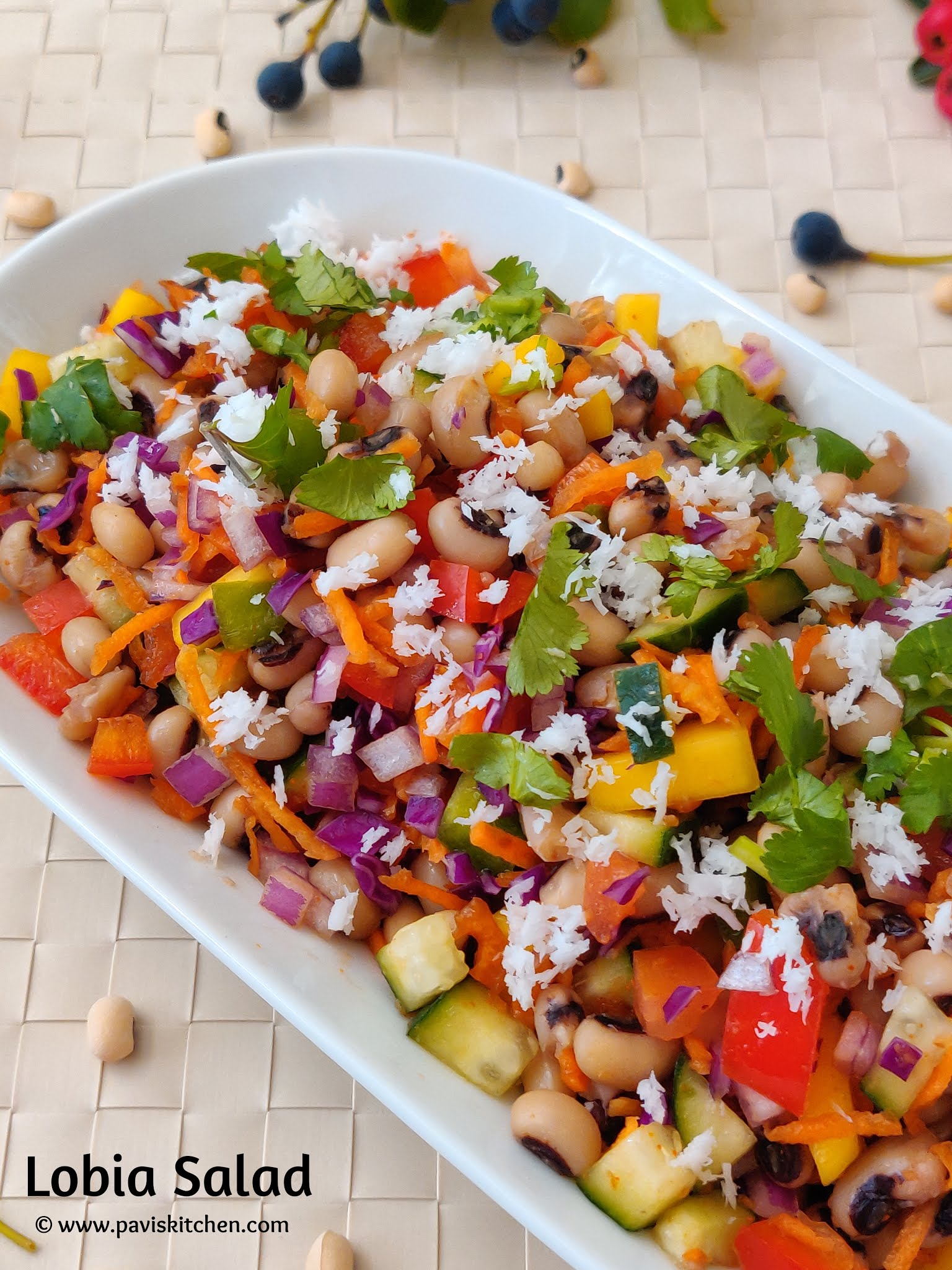 Karamani Salad | Lobia Chaat Recipe | Black Eyed Beans Chaat