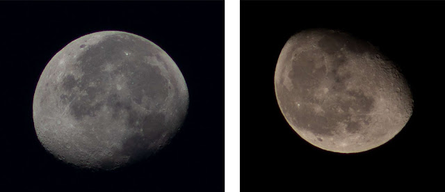 Field rotation of lunar images.  Left at 7:18 am, Right at 10:11 pm (Source: Palmia Observatory)