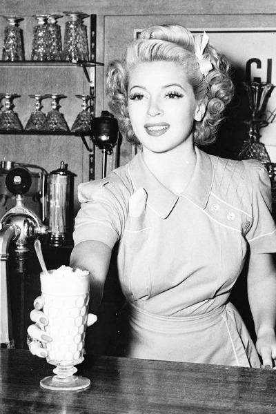 Lana Turner in Malt Shop Scene from 1943 Slightly Dangerous