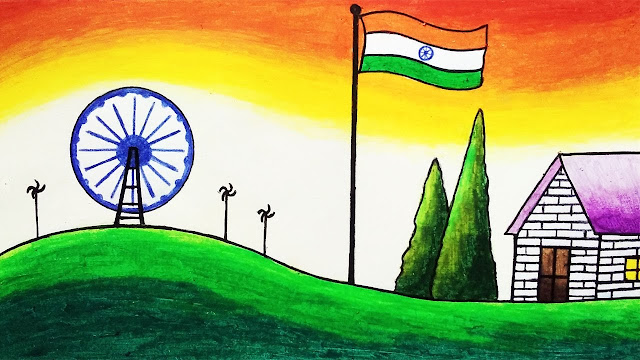 Happy Independence Day Drawing