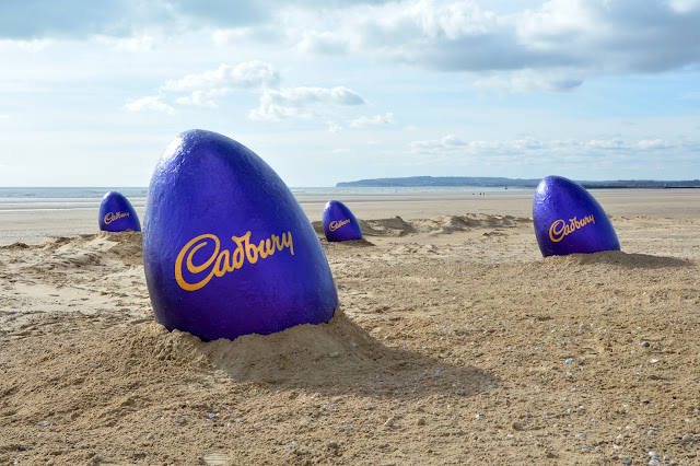 Giant Cadbury purple eggs spotted on Camber Sands beach