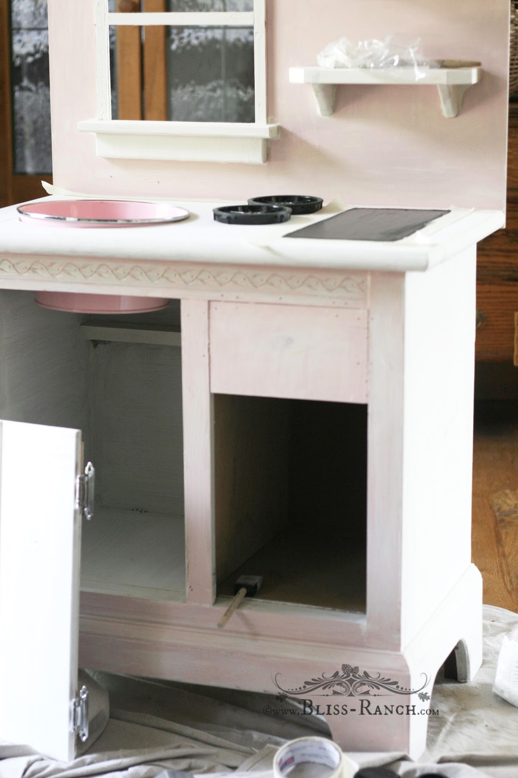 Upcycled Nightstand to Play Kitchen Bliss-Ranch.com #playkitchen #upcycledfurniture #kids