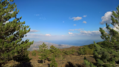 Views north from the north side of Mount Etna, Taormina is barely visible in the distance.