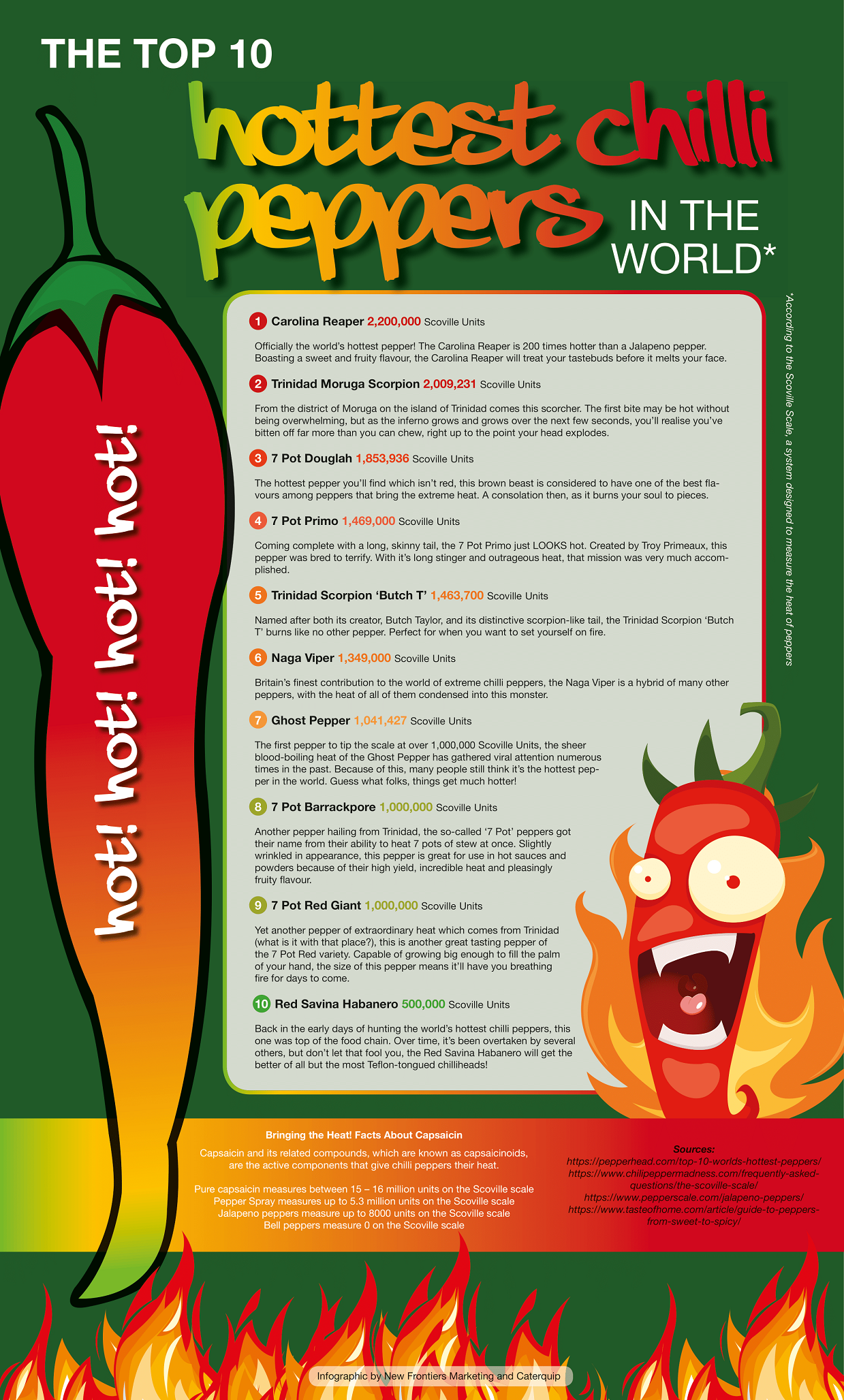 The Top 10 Hottest Chilli Peppers in the World #infographic
