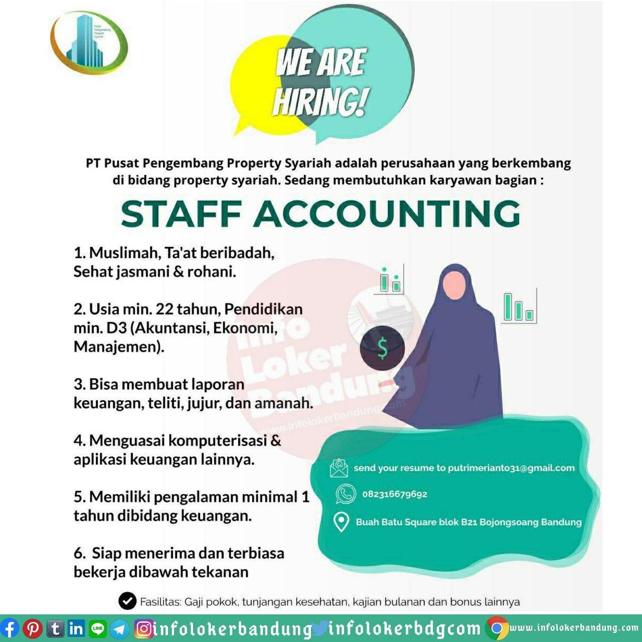 Lowongan Kerja Staff Accounting PT. Pusat Pengembang Property Syariah Bandung Juini 2020