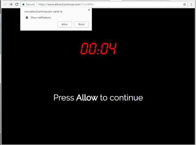 Allow2continue.com pop-ups