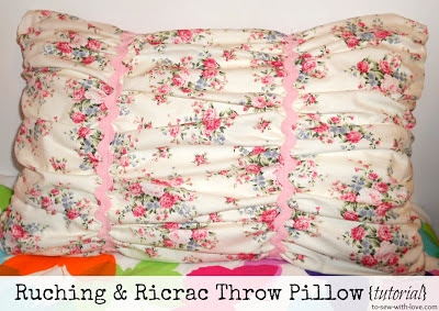 ruching and ricrac pillow