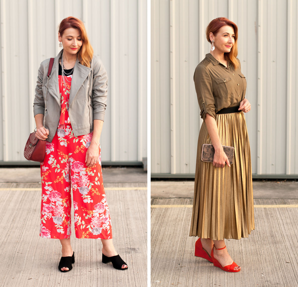 JD Williams SS17 outfits: Daytime casual (grey leather jacket, orange floral jumpsuit) and date night outfit (khaki shirt, gold metallic pleated maxi skirt) | Not Dressed As Lamb, over 40 style