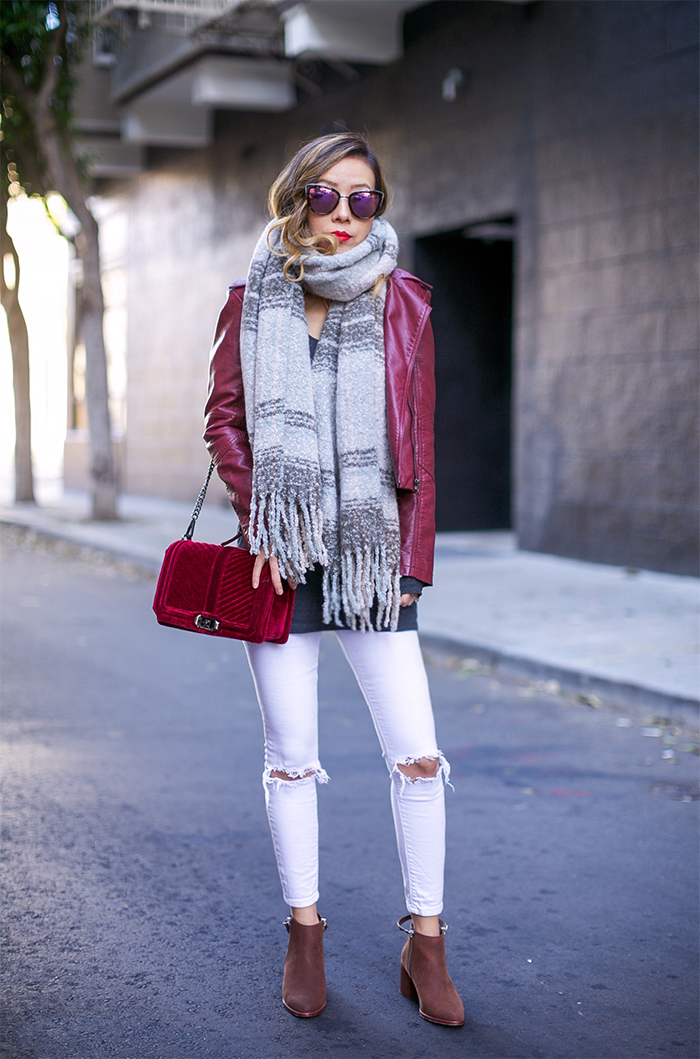 Burgundy faux leather jacket, rebecca minkoff velvet love crossbody bag, white ripped jeans, quay sunglasses, matt person ankle boots, free people loveland plaid fringe scarf, san francisco street style, san francisco fashion blog