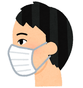 マスクを付けた人の横顔のイラスト(アジア人男性)