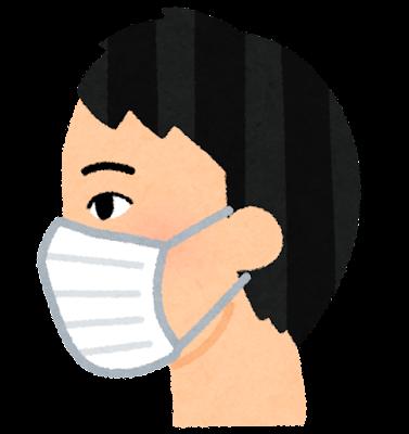 マスクを付けた人の横顔のイラスト(男性)