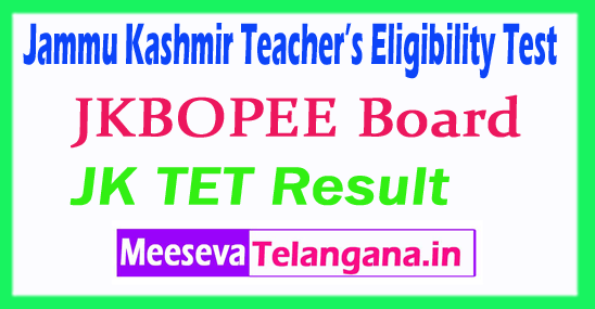 Jammu Kashmir Teacher's Eligibility Test TET Result 2018