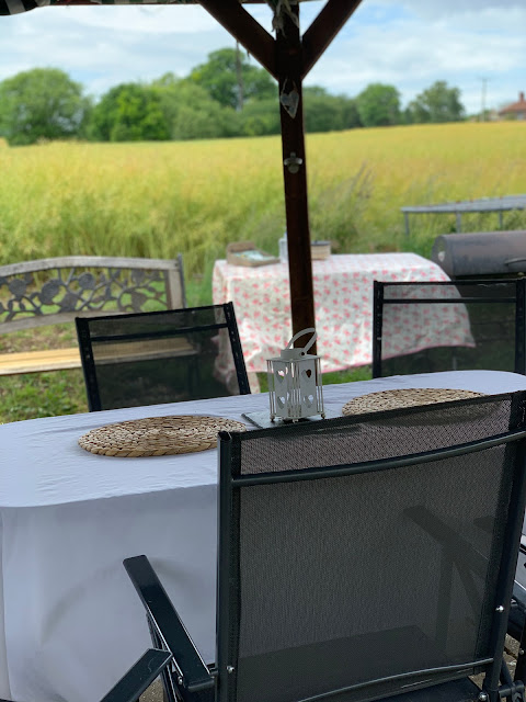 table set for barbecue