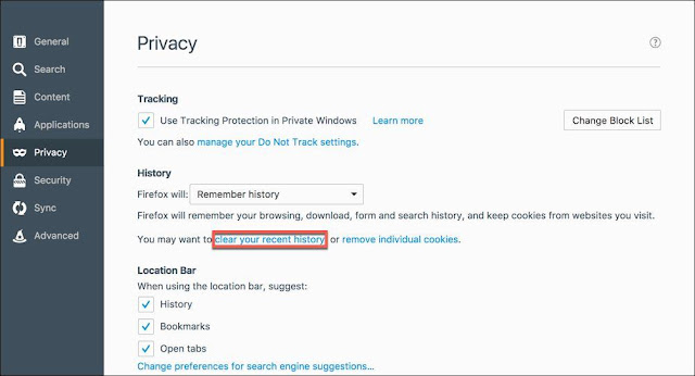 clearing-cache-in-windows-mozilla-firefox-clicking-on-clear-your-recent-cache-in-sub-menu-of-privacy-section