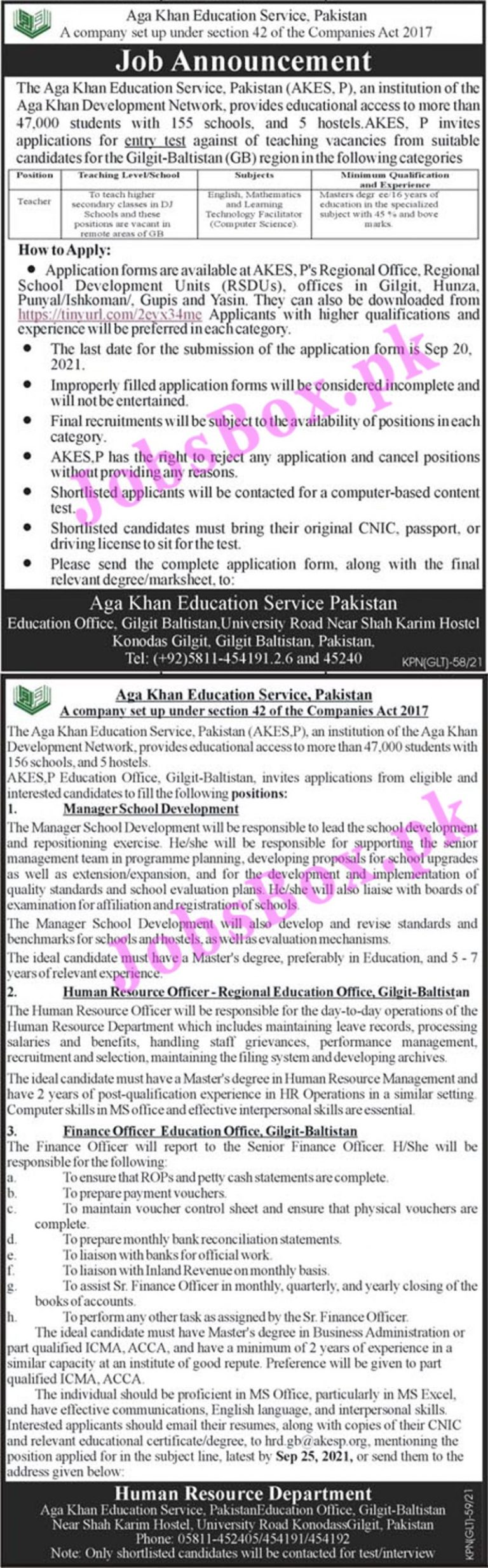 hrd.gb@akesp.org - Aga Khan Education Service Gilgit Baltistan Jobs 2021 in Pakistan