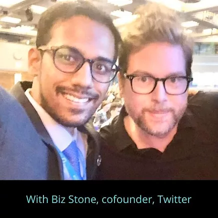 Pratik Gauri with Biz Stone