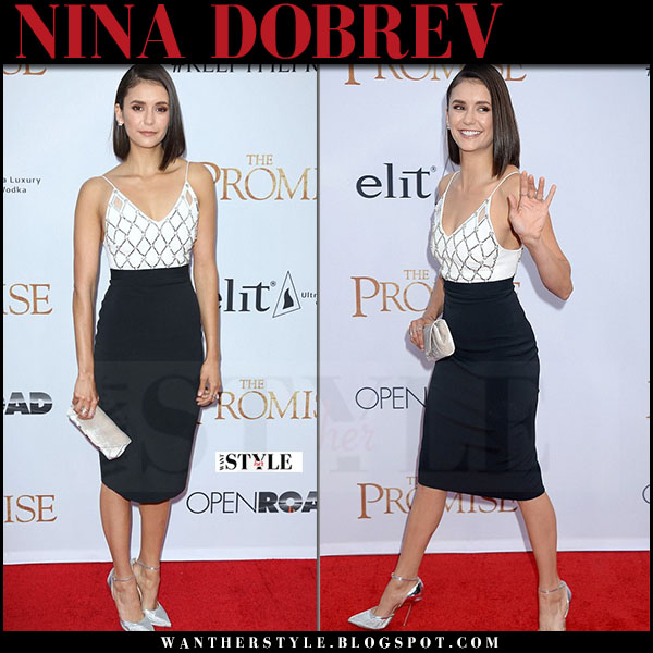 Nina Dobrev in white and black pencil dress david koma and silver pumps red carpet what she wore april 2017 style
