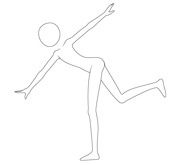 Anime melempar pose lengan menggambar