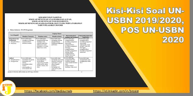 Kisi-Kisi Soal UN-USBN 2019/2020, POS UN-USBN 2020