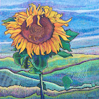 Sunflower acrylic painting on marine plywood