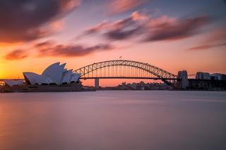 ponte rio e pôr do sol na austrália