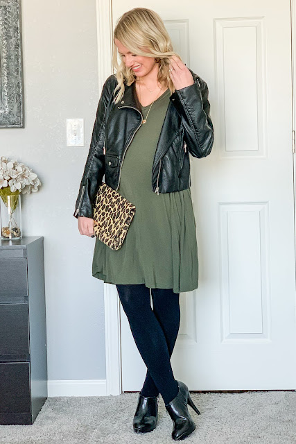 How to style a spring dress for winter with a moto jacket