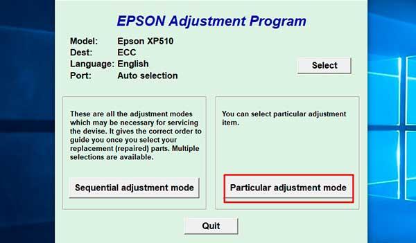 Reset Epson XP-510