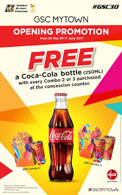 GSC MyTOWN Opening Promotion for a FREE Coke bottle with every Popcorn Combo 2 or 3 purchased: