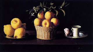 'Still Life with Lemons Oranges and a Rose' by Francisco de Zurbarán circa 1633 in Norton Simon Museum, California