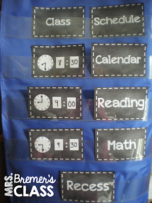 EDITABLE chalkboard style schedule cards to show the daily classroom schedule