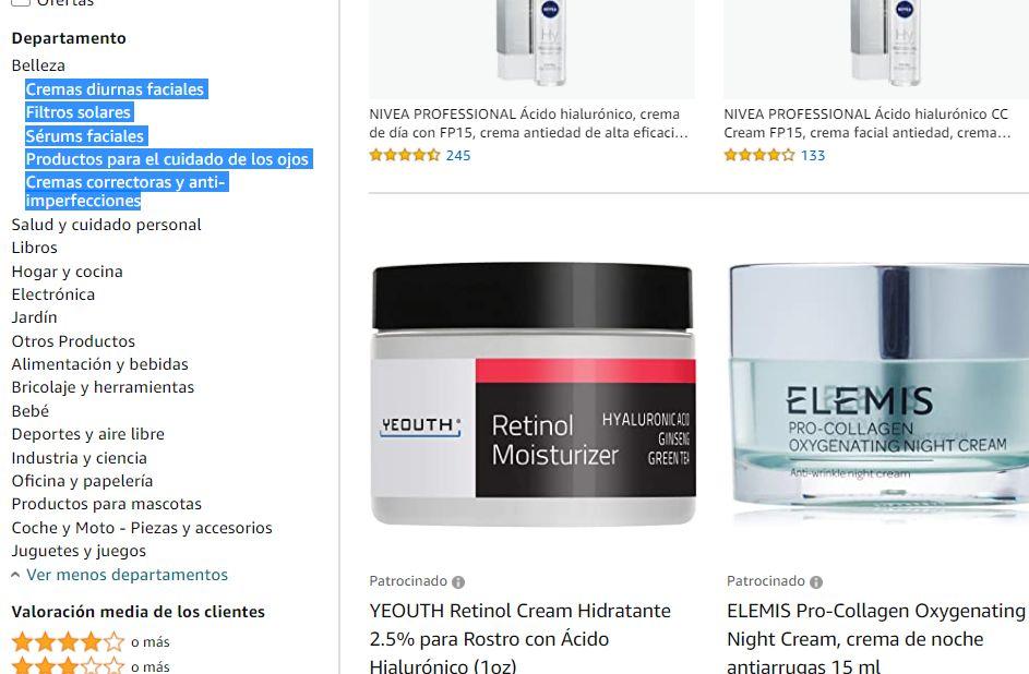 Sugerencias de categorías en Amazon