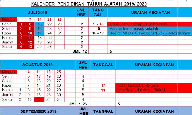 K13 : Kalender Pendidikan Kabupaten Bulukumba Tahun Pelajaran 2019-2020
