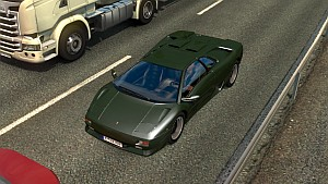 Lamborghini Diablo car in traffic