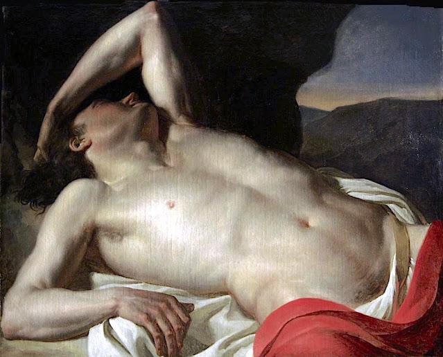 Jean-Germain Drouais (1763-1788) (attribué à...) Torse d'homme renversé Huile sur toile, Musée des beaux arts de Narbonne